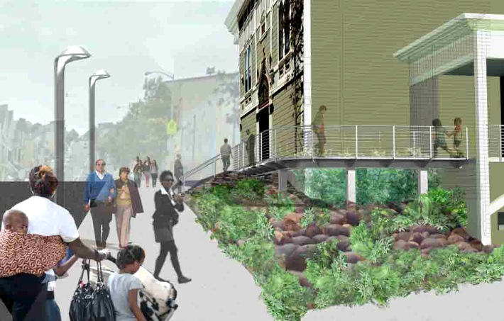 Going up the street, rendering by Hood Design